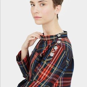 J.Crew Tartan Christmas Plaid Blouse with Jewels
